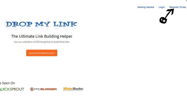 Dropmylink register